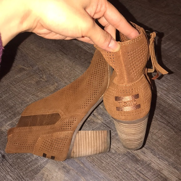Toms Shoes - EUC TOMS perforated suede Majorica booties
